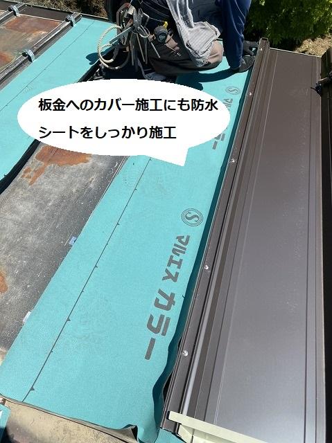 茨城町の現場でガルバリウム鋼板を縦葺きする職人