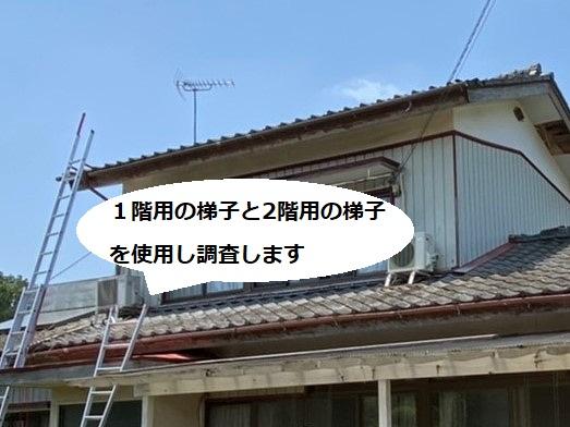 茨城町での屋根調査は1階と2階双方に梯子をかけます