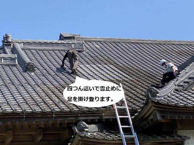 瓦職人が雪止めに足を掛け四つん這いで急勾配屋根に登る