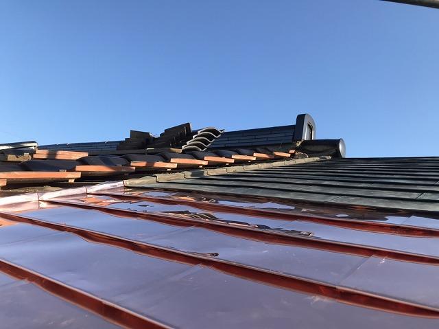 部分的な銅板葺き替えが完成間近の結城市の現場屋根