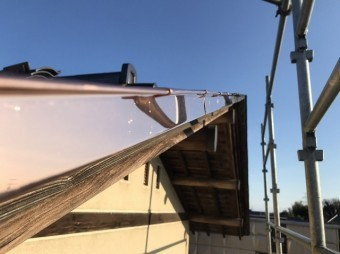 銅板屋根施工を行ったケラバ部分