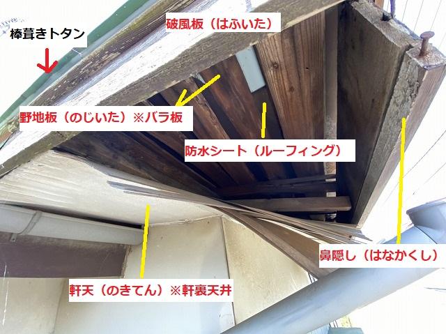 屋根の軒裏から見える屋根下地を解説