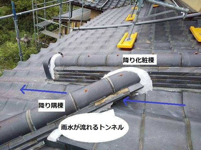 降り化粧棟と隅棟の緩衝部に流水の為のトンネルをつくる