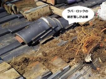 ラバ―ロックの削ぎ落しが必要な冠瓦