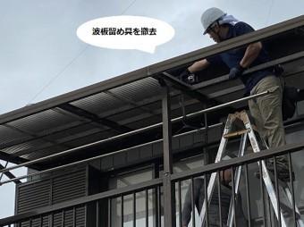 脚立に登り波板の留め具をインパクトで撤去する職人