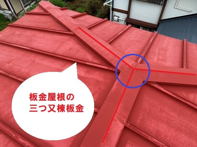 日立市の雨漏りしている瓦棒屋根上からみる三つ又棟板金