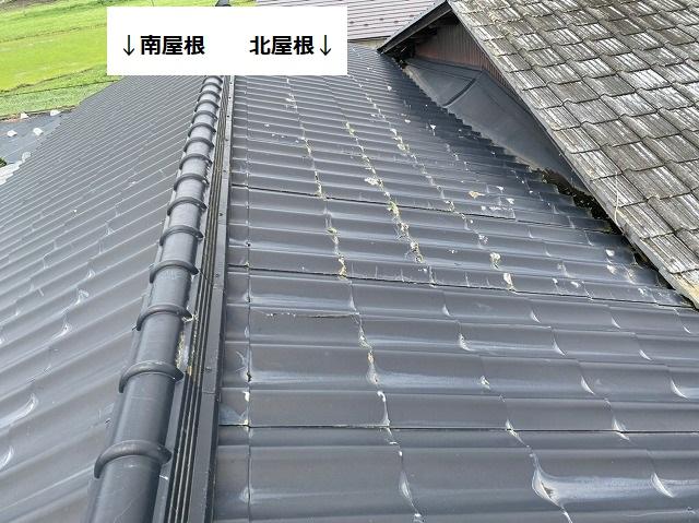 結城市の南屋根と北屋根のセキスイかわらUの破損状況を比較