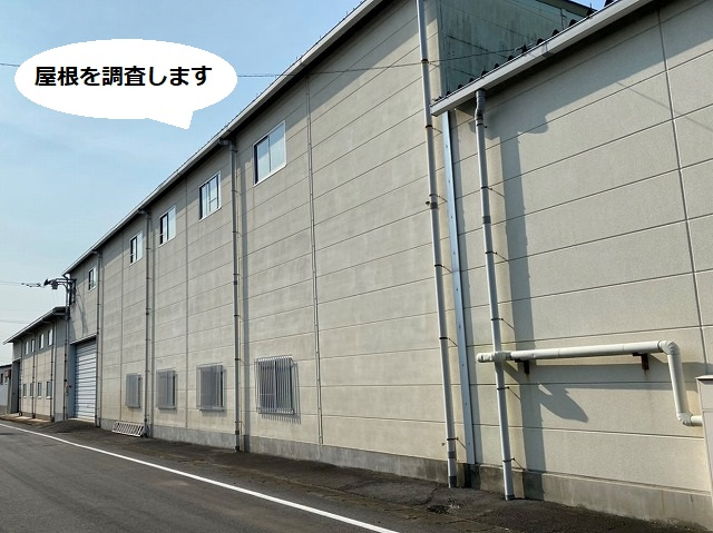 桜川市の大型倉庫屋根の現場調査画像