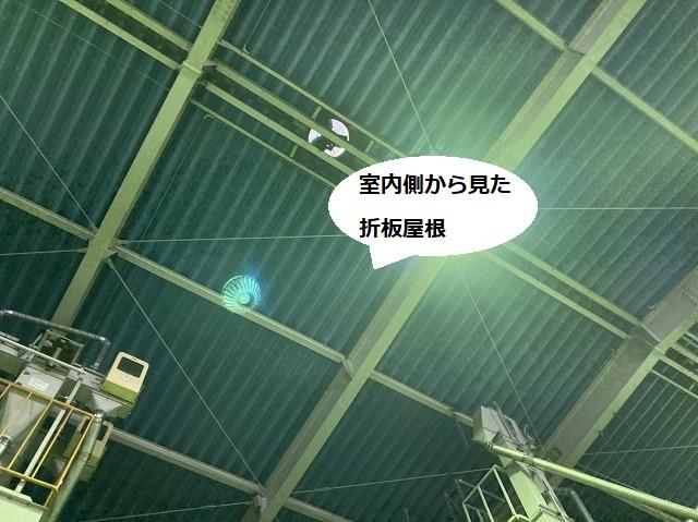 折板屋根を内部から見上げた画像