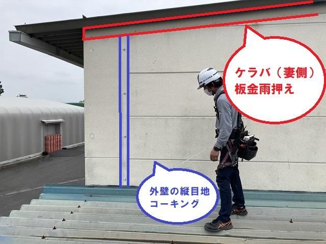 折板屋根のケラバから雨漏り箇所の特定