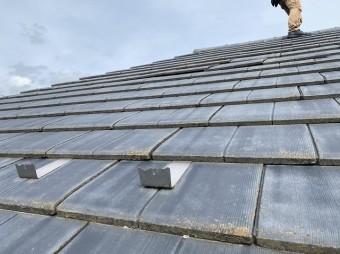 軒先から撮影した日立市の南面の厚型スレート屋根