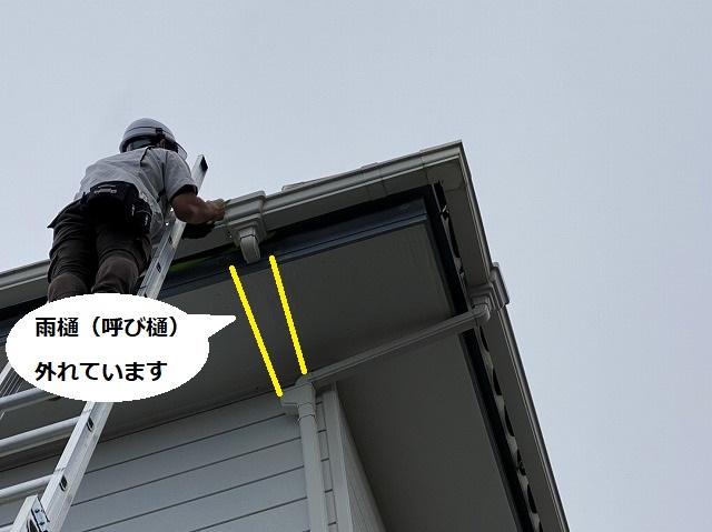 二階の呼び樋を補修する為に二連梯子で軒先まで登るスタッフ