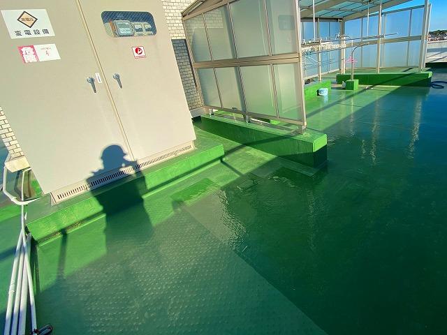 屋上シート防水が補修されていました