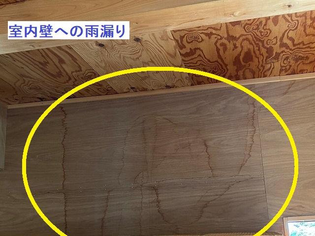 作業小屋の、室内壁への雨漏り