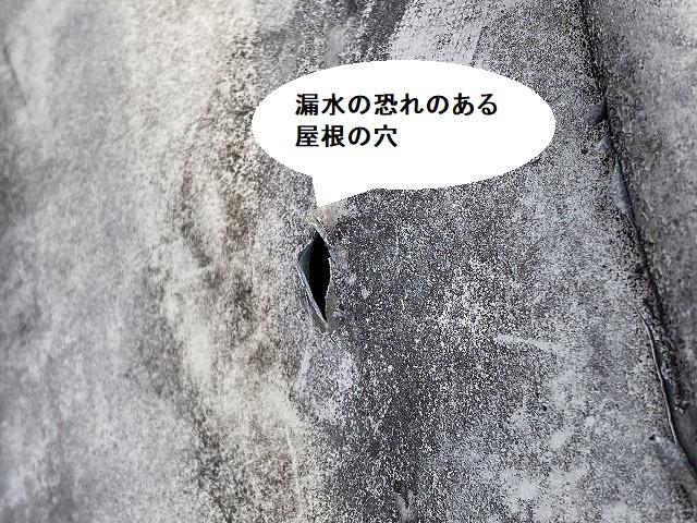 漏水の恐れがある屋根の穴
