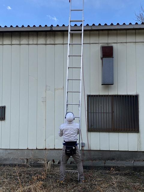 折板屋根に二連梯子を掛けるスタッフ