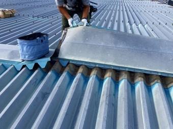 桜川市で折板屋根の棟包み剥がし