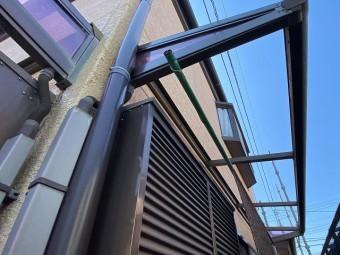 平板の撤去が完了した古河市のテラス屋根