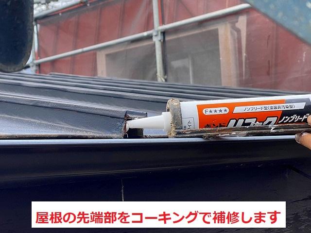 屋根の線タブにコーキングを注入します