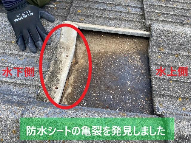 常陸太田市のセメント瓦を捲ると防水シートに亀裂が入っています
