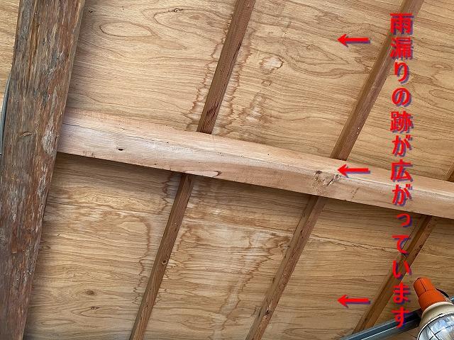 野地板が天井材の雨漏り