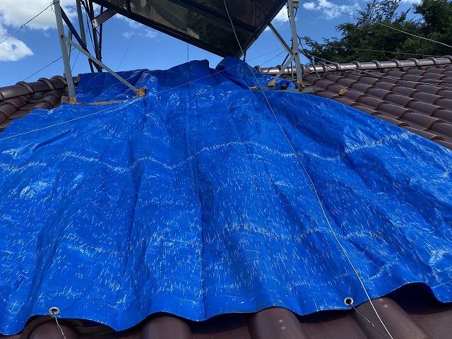 雨漏りしている屋根に掛けられていたブルーシート
