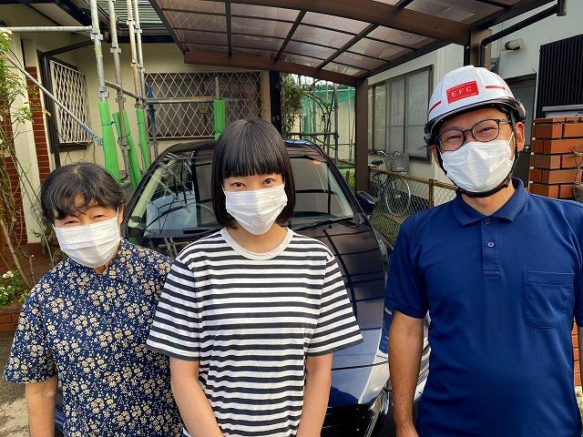 那珂市で屋根カバー工事と破風板・軒天補修工事を行ったお客様よりお喜びの声を頂きました(コロナ禍の為マスク着用)