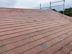 常陸太田市で太陽光が外されたスレート屋根パミール