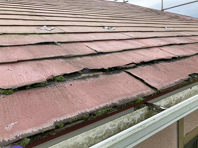 常陸太田市でスレート屋根パミールが層間剥離