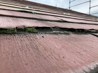 常陸太田市でスレート屋根パミールが層間剥離をお越し中まで水が浸透