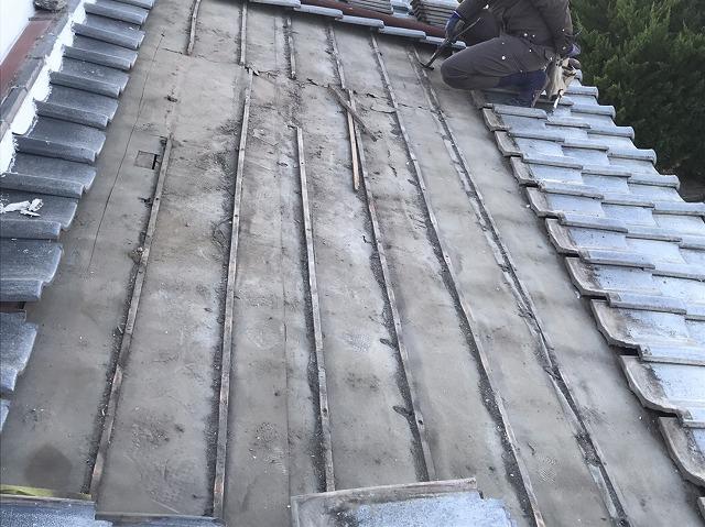 雨漏りしていた水戸市の瓦屋根下地