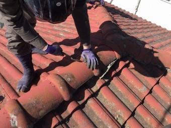 小美玉市の屋根葺き替え工事着手風景