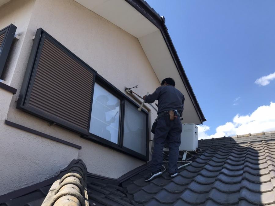 石岡市で屋根葺き替え前のエアコン配管撤去工事