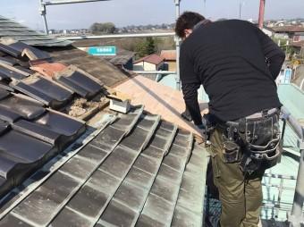銅板腰葺き屋根の下地補修
