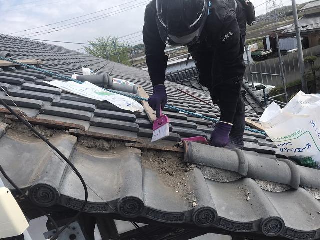 風切丸を撤去しゴミを清掃