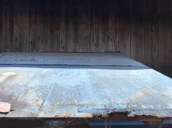 ひたちなか市で雨漏り修理依頼のあったトタン庇