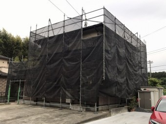 城里町足場設置完了西側