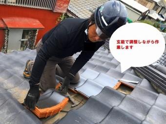 ひたちなか市で台風で飛散した桟瓦の瓦屋根補修で1F屋根補修工事桟瓦の差し替え