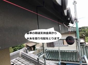 水戸市の現場2階部へ基準の雨樋支持金具を取り付け水糸を張る