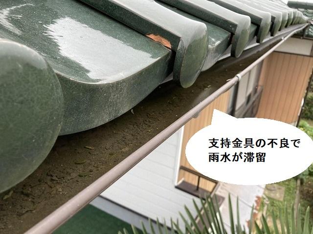 支持金具の不良で雨樋に雨水が滞留している様子