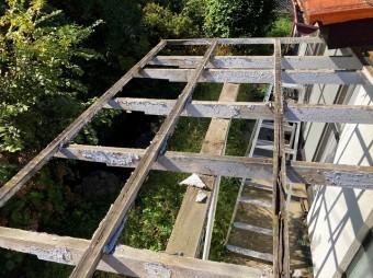 解体が完了したテラス屋根
