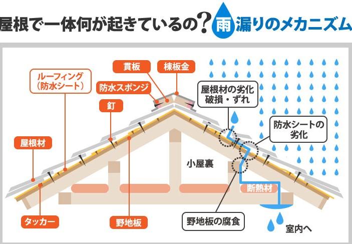 雨漏りのメカニズムのイラスト図解