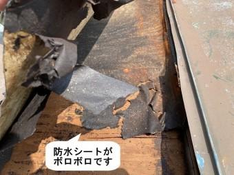 瓦棒屋根防水シートがボロボロ