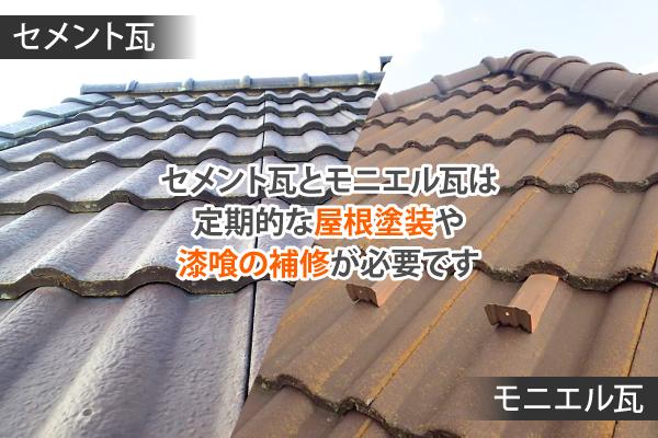 モニエル瓦は定期的な屋根塗装が必要